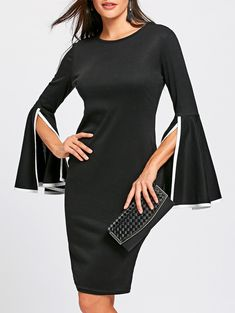 Split Flare Sleeve Sheath Dress - BLACK 2XL