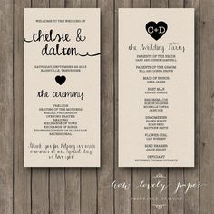 Printable Wedding Program Double Sided Front And Back