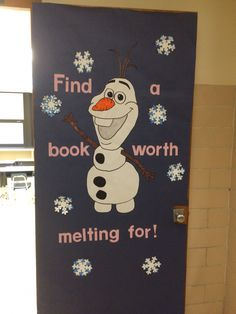 Olaf reading bulletin board