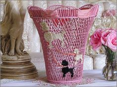 Shop for basket on Etsy, the place to express your creativity through the buying and selling of handmade and vintage goods. Pink Love, Pretty In Pink, Pink Poodle, I Believe In Pink, Inexpensive Home Decor, Everything Pink, New Years Eve Party, My Favorite Color, Vintage Images