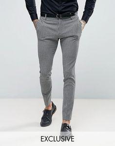 Religion Super Skinny Suit Pants in Gingham - Black Mens Dress Pants, Men Dress, Suit Pants, Trousers, Latest Mens Fashion, Mens Fashion Suits, Fashion Online, Formal Men Outfit, Mens Formal Pants