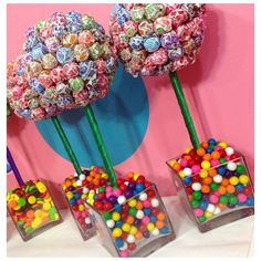 Rainbow Dum Dum Gum Ball Candy Land Centerpiece Topiary, Candy Buffet... ❤ liked on Polyvore featuring home, home decor and candy centerpieces
