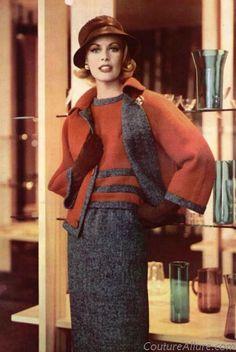 Guy Laroche - 1960s vintage fashion red grey suit 3pc shell top shirt skirt jacket knit sweater hat gloves model magazine designer winter