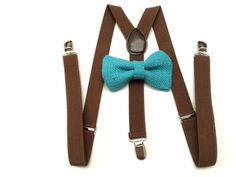 Turquoise Burlap Bow tie and Dark Brown Suspenders Bow Tie Wedding, Wedding Men, Wedding Ideas, Groom Suspenders, Wedding Suspenders, Burlap Bows, 3 D, Dark Brown, Turquoise