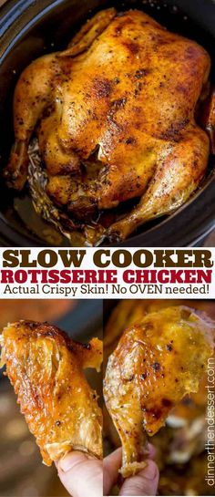Slow Cooker Rotisserie Chicken made with just a few spices and in the slow cooker with CRISPY skin without a second spent in the oven slowcooker rotisseriechicken recipe chicken Crock Pot Slow Cooker, Slow Cooker Recipes, Crockpot Recipes, Crockpot Whole Chicken Recipes, While Chicken In Crockpot, Vegan Recipes, Slow Cooker Turkey, Crock Pots, Crock Pot Gumbo