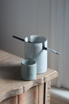 Florian Gadsby. Water pot and brush holder, crackle glazes, reduction fired.