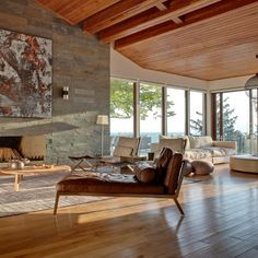 Stone and wood living room // living room