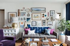 Julieta, of Julieta Alvarez Interiors, lives with her husband and daughter in a two-bedroom apartment in West New York, New Jersey. The art wall in the living room, which has pieces collected from all over the world, is a favorite element of the space.