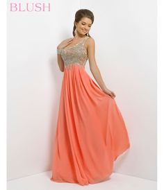Blush 2014 Prom Dresses - Coral Pink Beaded Chiffon One Shoulder Prom Dress - Unique Vintage - Prom dresses, retro dresses, retro swimsuits.