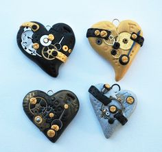 polymer clay hearts - Google Search