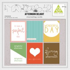 Free Afternoon Delight Journal Cards from Scooty's Designs