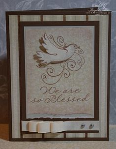 CTMH - Blessed card by Angela Tutton; LOVE the ribbon technique!