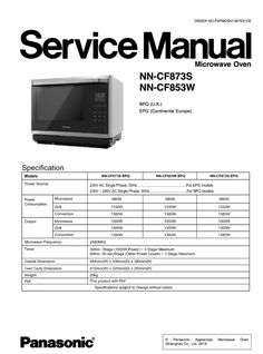 Panasonic Nn Cf873s Nn Cf853w Service Manual In 2020 With Images