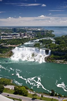 Niagara Falls ~ New York & Canada ~ The American Falls from the Canadian side. Beautiful Places To Visit, Wonderful Places, Beautiful World, Amazing Places, Beautiful Waterfalls, Beautiful Landscapes, Places To Travel, Places To See, Niagara Falls New York