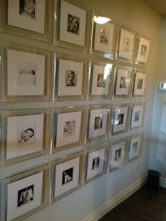 lucite gallery wall with silver frames