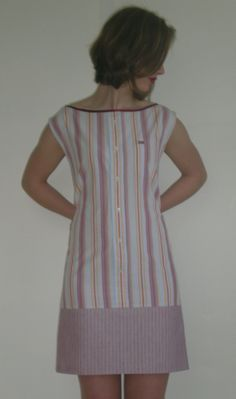 Recycled men's shirt into tunic/dress. Also nice with jeans ..concept                                                                                                                                                     More