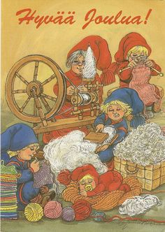 a postcard from Finland, illustrated by Marja-Liisa Pitkäranta Woolen Clothes, Lucky Charm, Goblin, Gnomes, Elves, Finland, Vintage World Maps, Christmas Cards, Fairy
