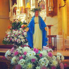 May crowning Mary Flowers, Altar Flowers, Irish Catholic, Catholic Churches, Mama Mary, Catholic School, Beltane, Blessed Virgin Mary, Corpus Christi