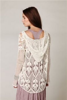 crochet hoodie - pretty certain I can find something similar to make on ravelry! Crochet Hoodie, Crochet Coat, Crochet Jacket, Crochet Cardigan, Crochet Shawl, Crochet Clothes, Crochet Sweaters, Lace Jacket, Crochet Motifs