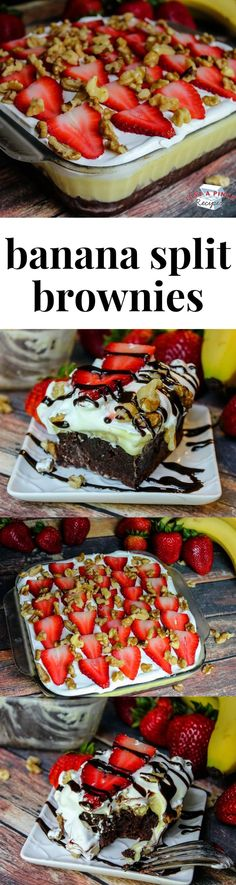 Split Brownie Cake Quick & easy banana split brownie cake is a dessert everyone is going to love!Quick & easy banana split brownie cake is a dessert everyone is going to love! Quick Easy Desserts, Just Desserts, Delicious Desserts, Yummy Food, Banana Split, Brownie Recipes, Cake Recipes, Dessert Recipes, Brownie Desserts