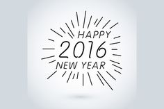 hand drawn line Happy New Year 2016 by Rommeo79 on Creative Market