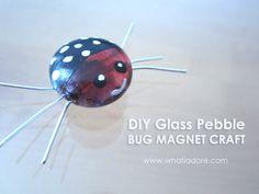 DIY Glass Pebble Bug Magnet Craft