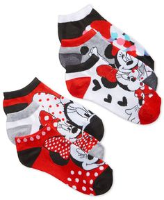 Disney Women's Minnie Mouse Classic No-Show Ankle Socks 6 Pack