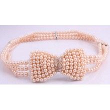 Light Pink Pearl 1950's Bowknot Belt Also available in Ivory and Black