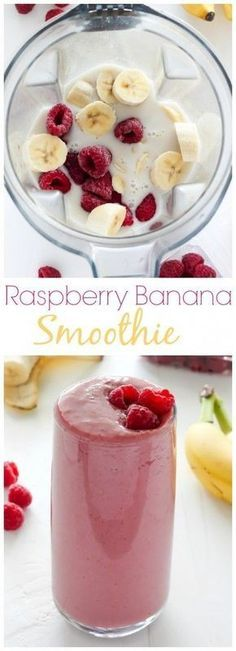 Raspberry Banana Smoothie - sweet, creamy, healthy, and SO delicious! #healthysmoothies
