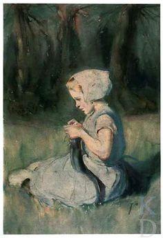 Wilhelmina Douglas de Koning-Hawley Breiend meisje in weiland, ca. 1892-1904 Rijsoord #ZuidHolland #IJsselmonde