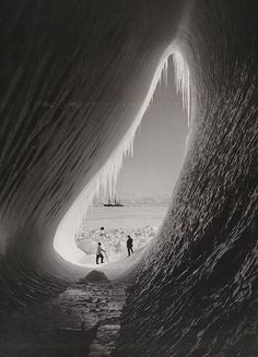 """offsuit: """"Members of Robert Falcon Scott's expedition to the South Pole inside an ice grotto with their ship Terra Nova in the distance, """" Robert Falcon Scott, Robert Scott, Ansel Adams, Magic Places, Terra Nova, Rare Historical Photos, Rare Photos, Historical Sites, Les Continents"""