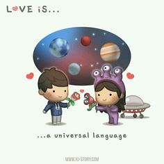 Love is. a universal language - HJ-Story Love Is Cartoon, Cute Couple Cartoon, Cute Love Cartoons, Cute Love Stories, Love Story, Love Is Sweet, What Is Love, Romantic Quotes, Love Quotes