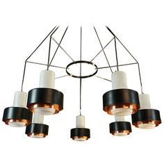 Large Italian Stilnovo MidCentury Solid Copper and Opaline Chandelier Light | From a unique collection of antique and modern chandeliers and pendants at https://www.1stdibs.com/furniture/lighting/chandeliers-pendant-lights/