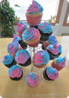 gender reveal party idea, pink and blue cupcakes-- could do this for a fair themed party it looks like cotton candy