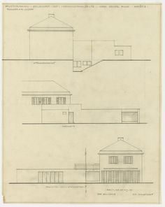 Fuchs Addition to Perls House, Berlin-Zehlendorf, Germany, Three elevations Ludwig Mies van der Rohe (American, born Germany. 1886–1969)  1928. Pencil on tracing paper, 19 1/4 x 15 1/4 (48.9 x 38.8 cm). Mies van der Rohe Archive, gift of the architect. © 2013 The Museum of Modern Art, New York