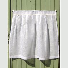 Large White Linen Cafe Curtain Shabby Linen by HatchedinFrance