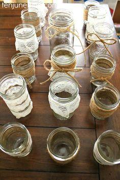 Ten June: Vintage Inspired, Burlap + Lace Wedding DIY Projects #masonjars #burlap #lace #twine #hotglue
