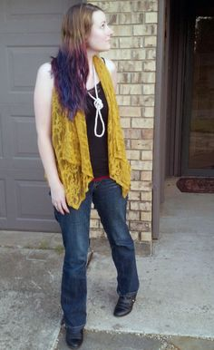 Mustard colored lace and dip dye hair