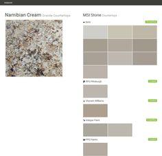 Namibian Cream. Granite Countertops. Countertops. MSI Stone. Behr. PPG  Pittsburgh.