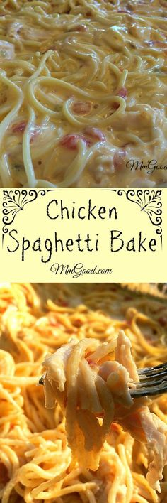 spaghetti bake is a great combination of chicken with cheese and spaghetti.the secret is using rotel canned tomatoes! This casserole a family favorite, it's great for company, football games and even for potluck.you will love this recipe! Huhn Spaghetti, Baked Chicken Spaghetti, White Spaghetti Recipe, Recipes With Spaghetti Noodles, Chicken Spaghetti Recipe Crockpot, Taco Spaghetti, Cheese Spaghetti, Casserole Spaghetti, Crockpot Recipes