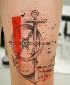 Beautiful dated anchor tattoo. The tattoo is designed to look like one of those old maps with the help of the light ink and cursive writing.