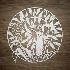 Mr Fox papercut Hand dawn and hand cut by me - Louise Bell Art