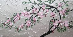 cherry blossom tree trees large abstract art black gray grey silver pink green Japanese painting wall paintings