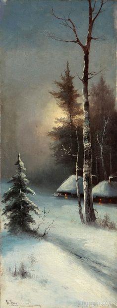 Winter Images, Winter Pictures, Watercolor Landscape, Landscape Paintings, Peintures Bob Ross, Bob Ross Paintings, Christmas Artwork, Vintage Landscape, Mary Cassatt