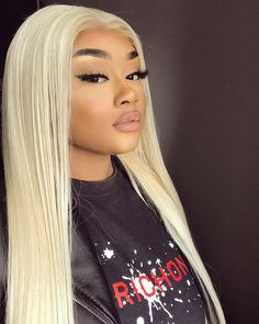 CiKi Home Blonde 613 Lace Front Wigs Middle Part Long Straight Synthetic Hair Replacement Wig for Women Heat Resistant 26 inches Khloe Kardashian, Weave Hairstyles, Straight Hairstyles, Blonde Hair Inspiration, Hair Inspo, Baddie Make-up, Brunette Color, Blonde Color, Foto Instagram