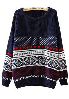 Navy Diamond Patterned Loose Sweater