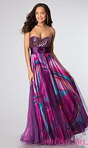 Buy Floor Length Strapless Sweetheart Print Dress at PromGirl