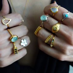14k Gold stacking rings | Aqua Chalcedony | Diamond Signet Ring | Floral Silver Ring #LiliKlein
