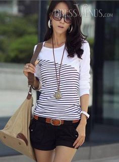 bf87068a9734dc US 10.99 Soft Split Joint Round Neckline Long Sleeve Elastic T-Shirt.  T