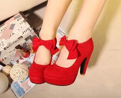 Red wedding high-heeled shoes thick heel butterfly sweet wedding shoes velvet bridal shoes bridesmaid shoes $25.90